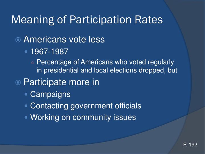 Meaning of Participation Rates