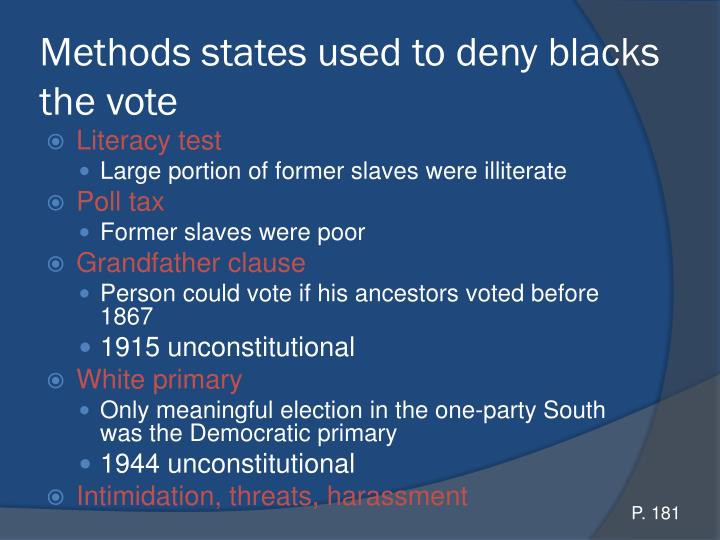 Methods states used to deny blacks the vote