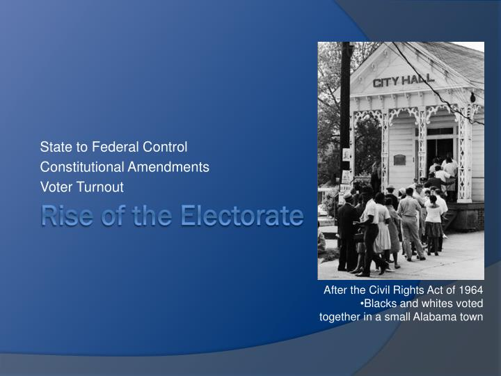 State to Federal Control