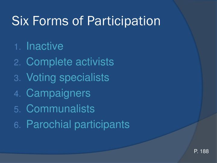 Six Forms of Participation