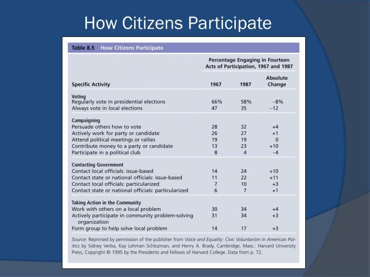 How Citizens Participate