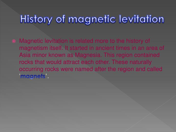 History of magnetic levitation
