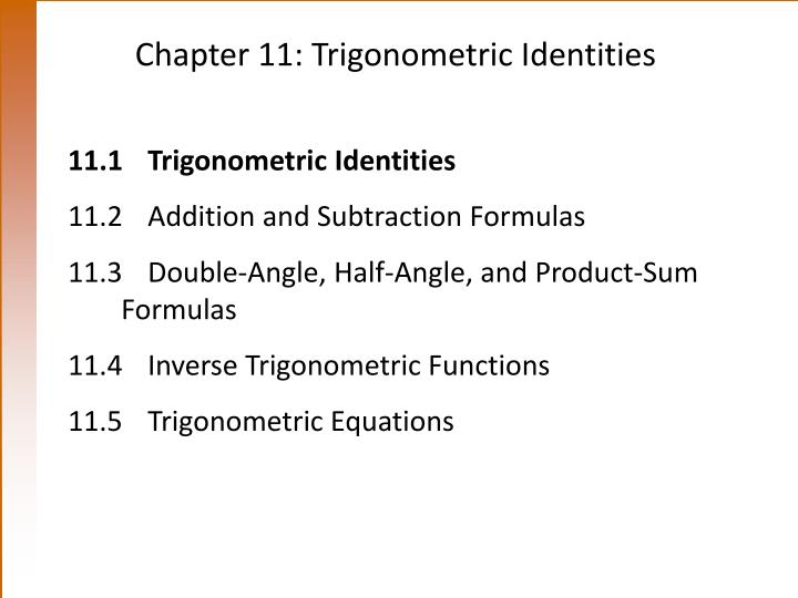 Chapter 11 trigonometric identities