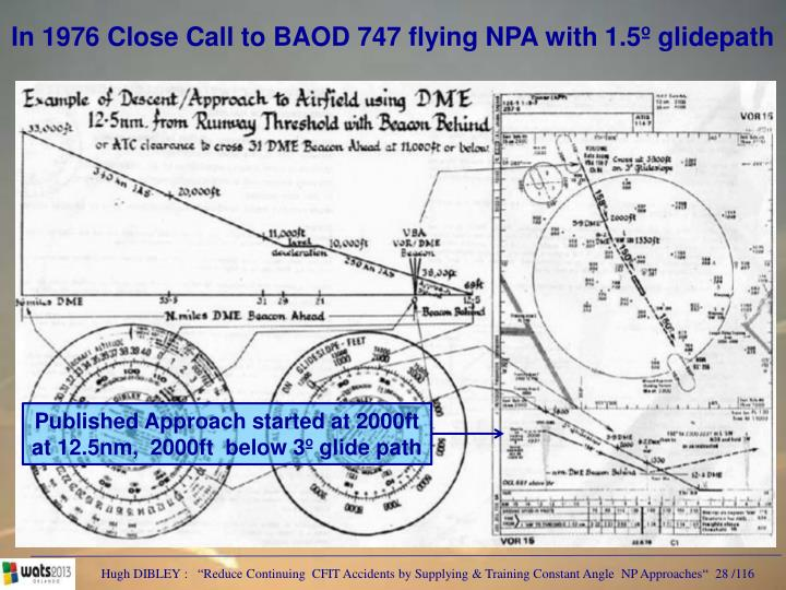 In 1976 Close Call to BAOD 747 flying NPA with 1.5º glidepath
