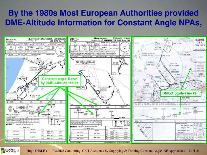 By the 1980s Most European Authorities provided DME-Altitude Information for Constant Angle NPAs