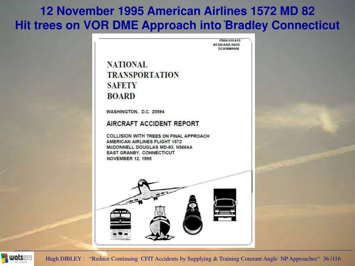 12 November 1995 American Airlines 1572 MD 82