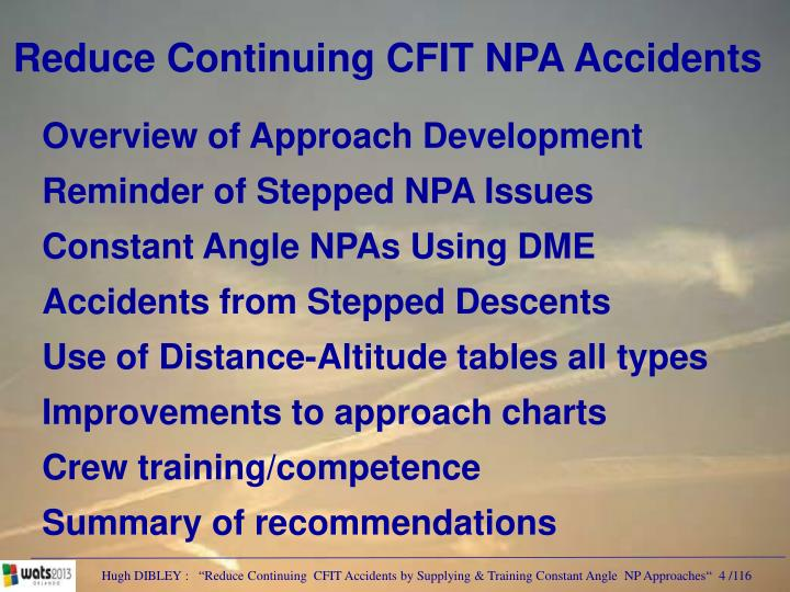 Reduce Continuing CFIT NPA Accidents