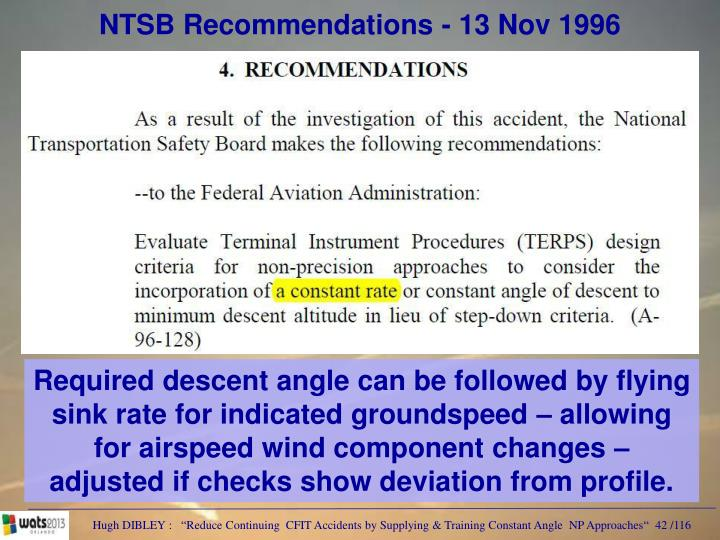 NTSB Recommendations - 13 Nov 1996