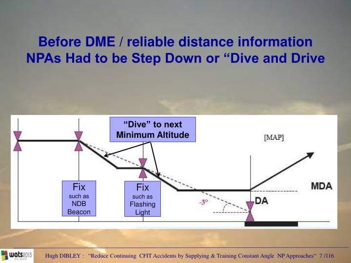 Before DME / reliable distance information