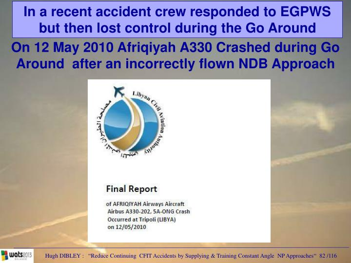 In a recent accident crew responded to EGPWS but then lost control during the Go Around