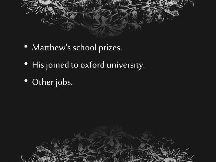 Matthew's school prizes.