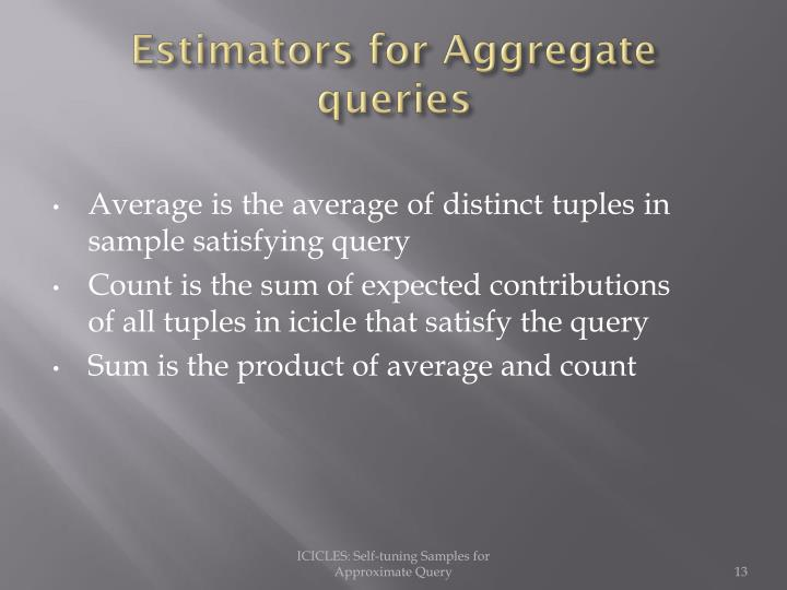 Estimators for Aggregate queries
