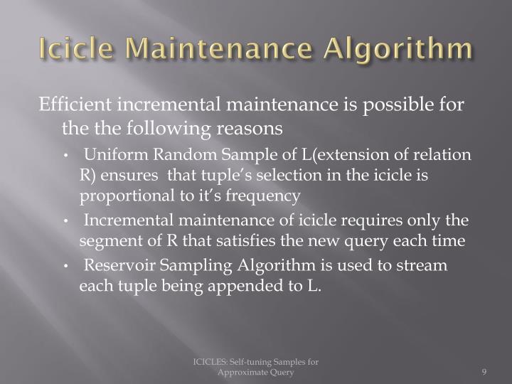 Icicle Maintenance Algorithm