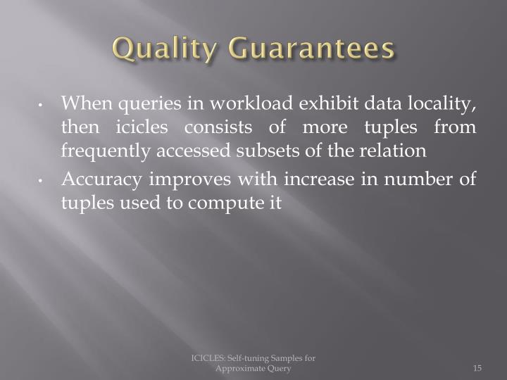 Quality Guarantees
