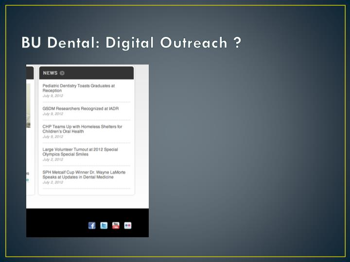 BU Dental: Digital Outreach ?