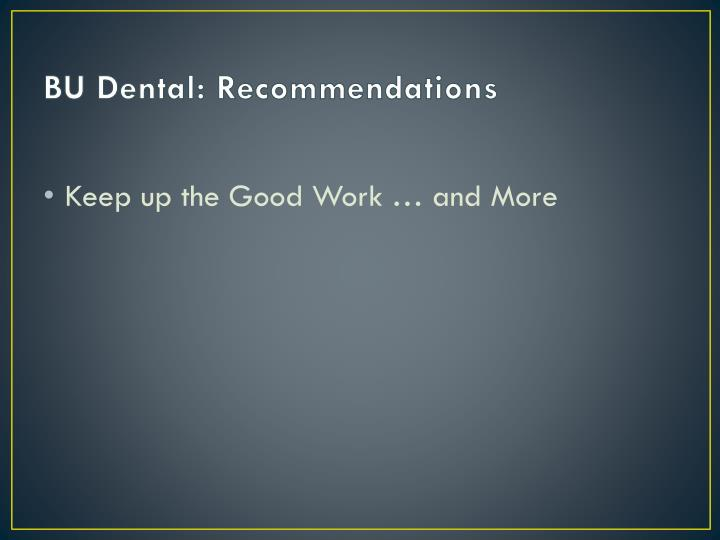 BU Dental: Recommendations