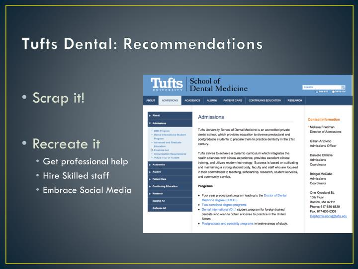 Tufts Dental: Recommendations