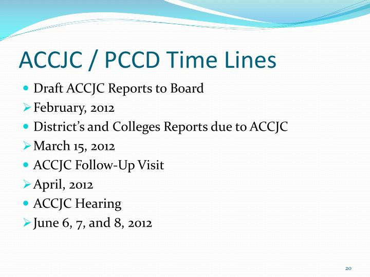 ACCJC / PCCD Time Lines