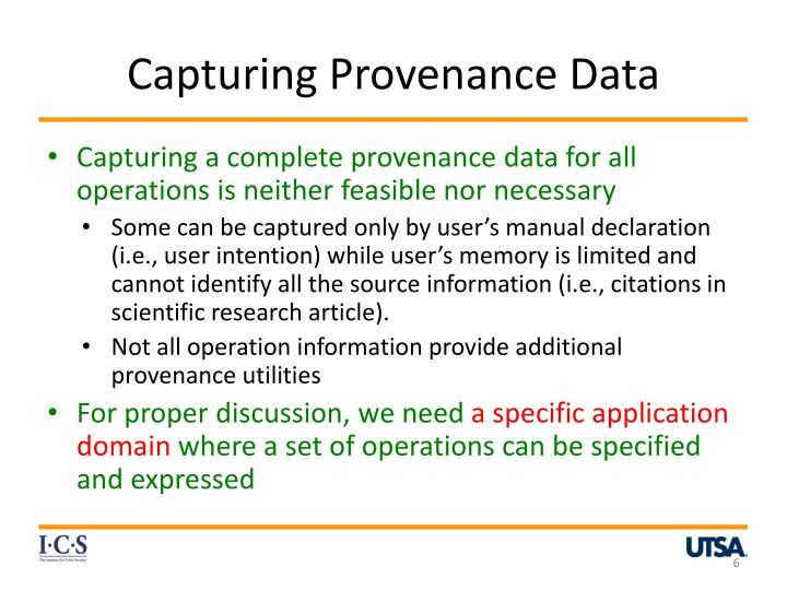 Capturing Provenance Data