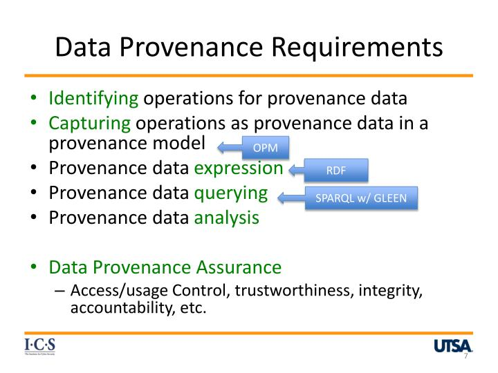 Data Provenance Requirements