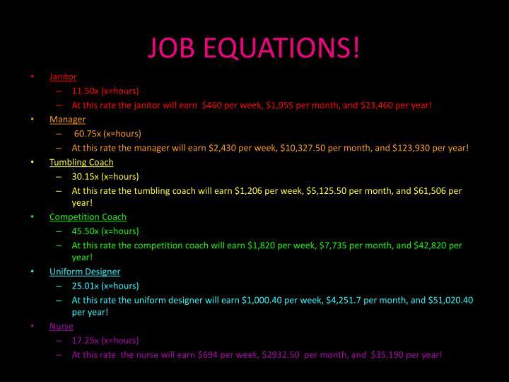 JOB EQUATIONS!