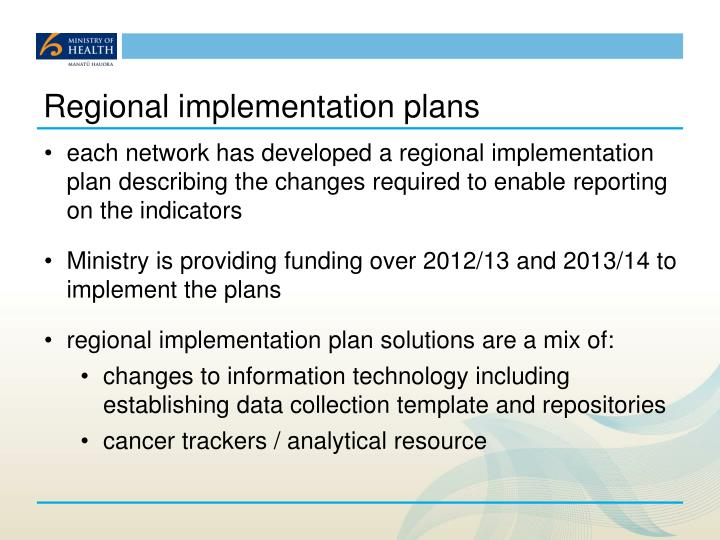 Regional implementation plans