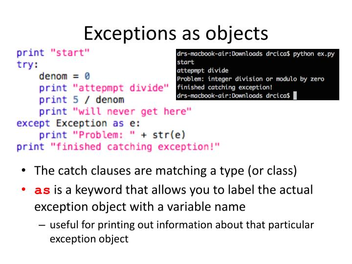 Exceptions as objects