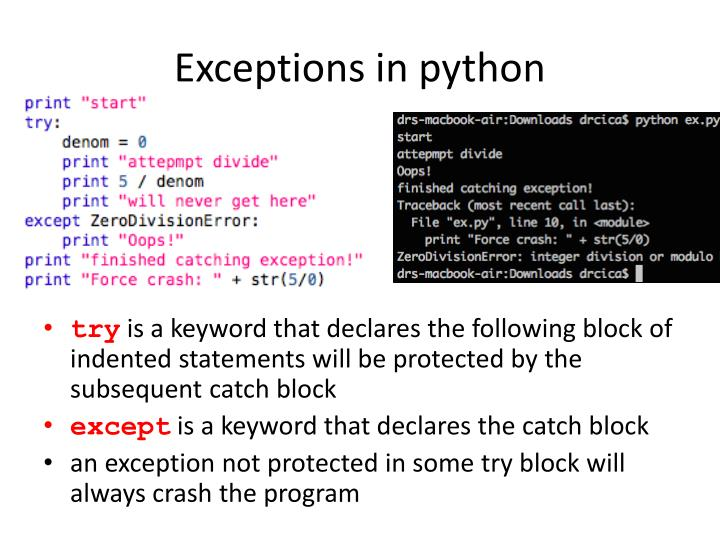 Exceptions in python
