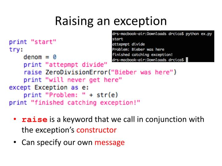 Raising an exception