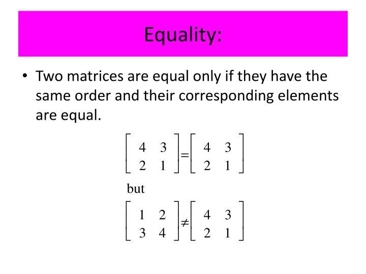 Equality: