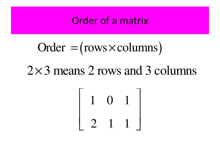 Order of a matrix