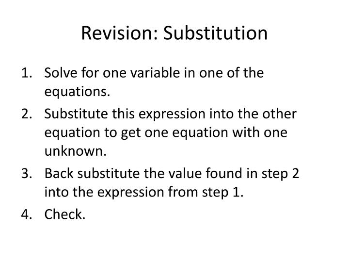 Revision: Substitution