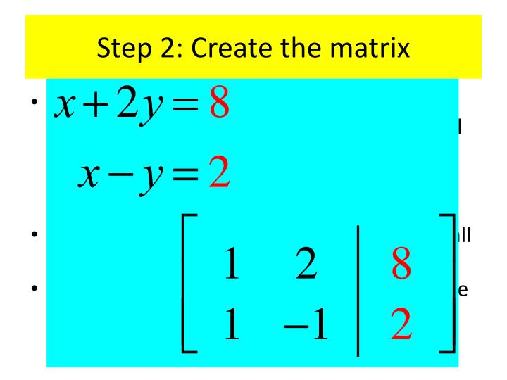 Step 2: Create the matrix