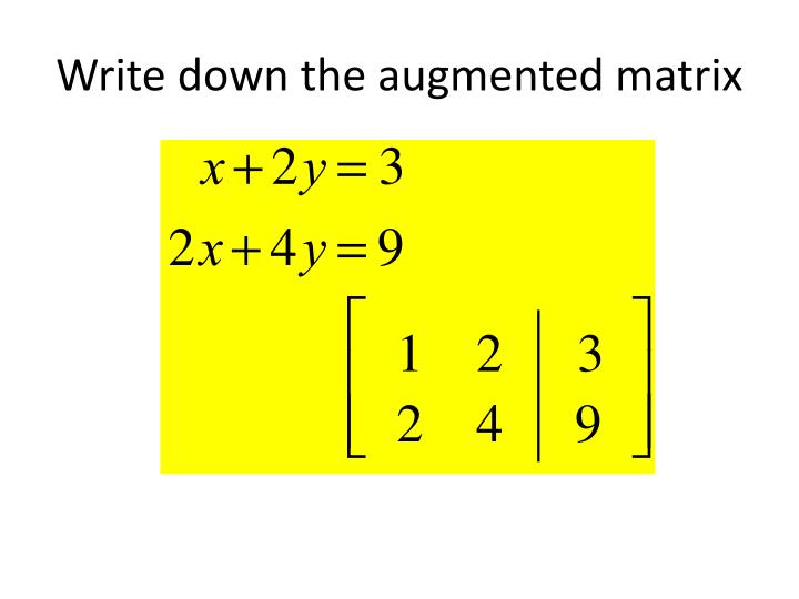 Write down the augmented matrix