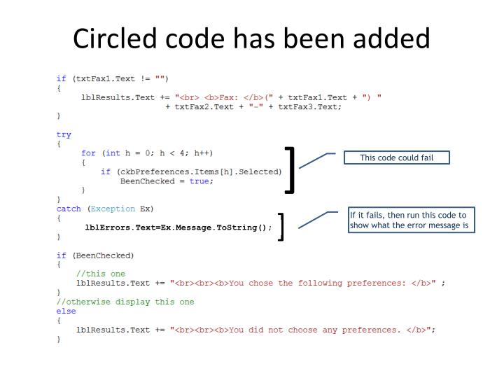 Circled code has been added