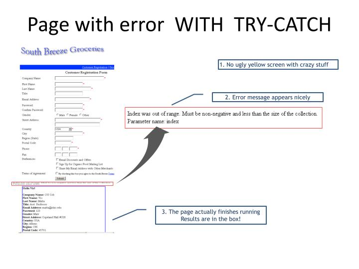 Page with error  WITH  TRY-CATCH