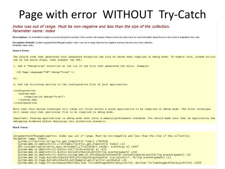 Page with error  WITHOUT  Try-Catch