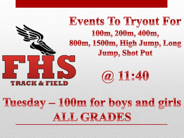 Events To Tryout For