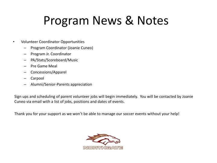 Program News & Notes