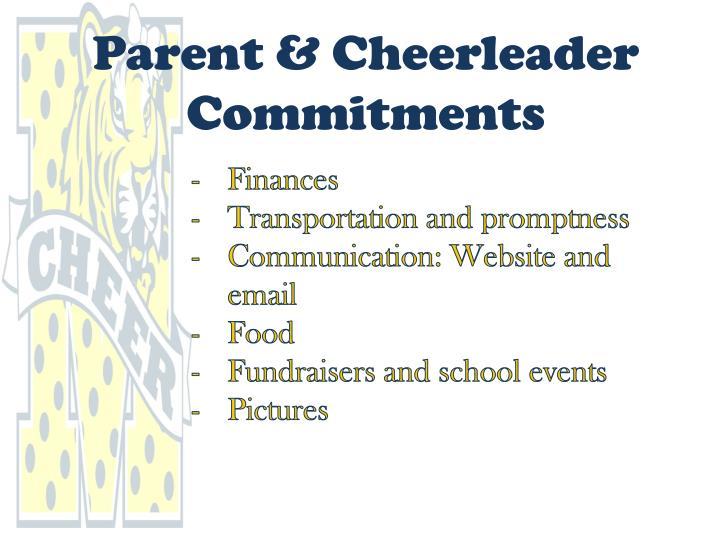 Parent & Cheerleader Commitments