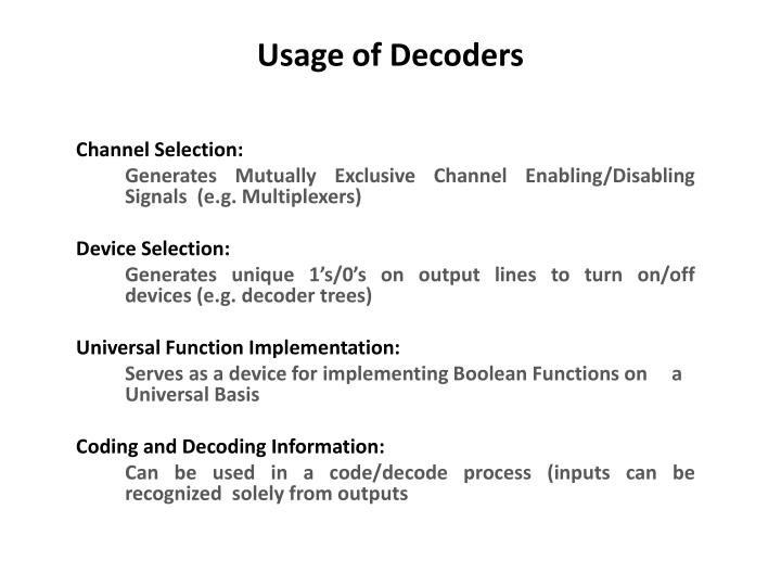 Usage of decoders