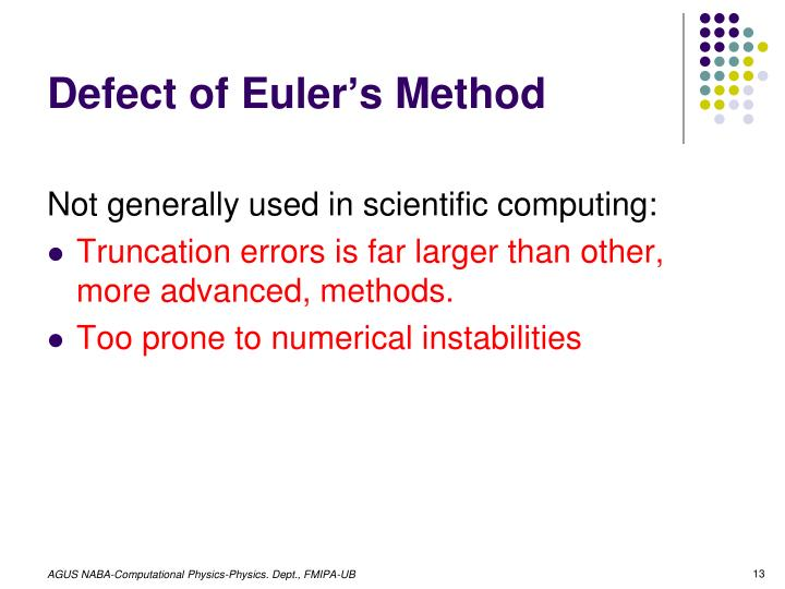 Defect of Euler's Method