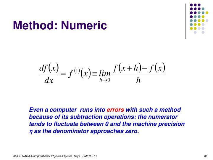 Method: Numeric
