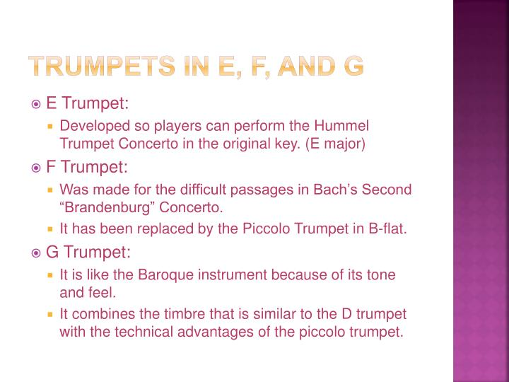Trumpets in E, F, and G