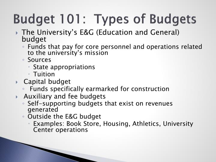 Budget 101:  Types of Budgets