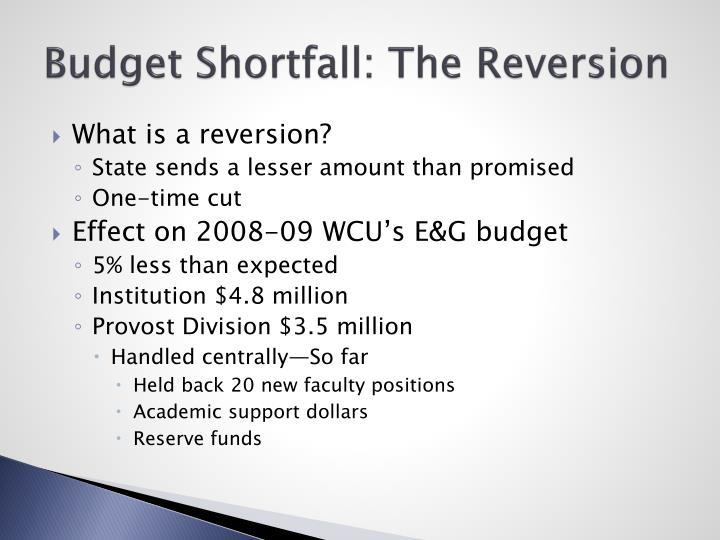 Budget Shortfall: The Reversion