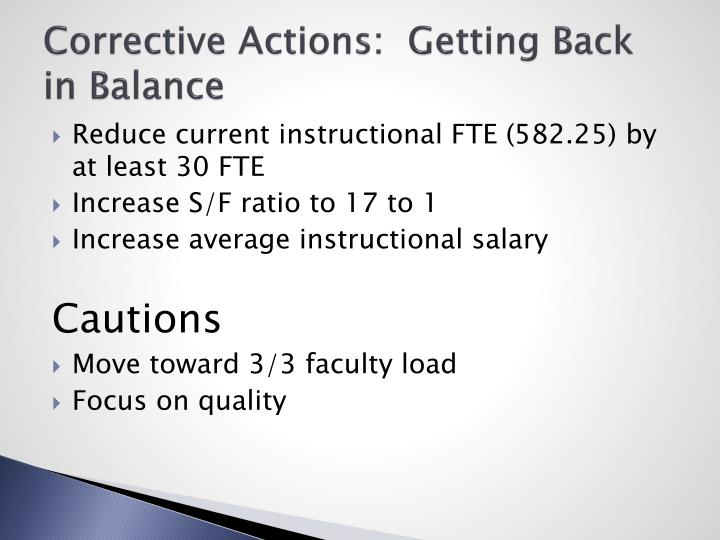 Corrective Actions:  Getting Back in Balance