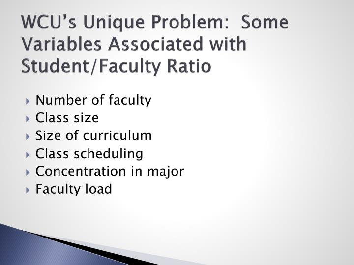 WCU's Unique Problem:  Some Variables Associated with Student/Faculty Ratio
