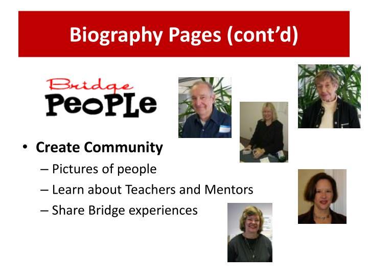 Biography Pages (cont'd)