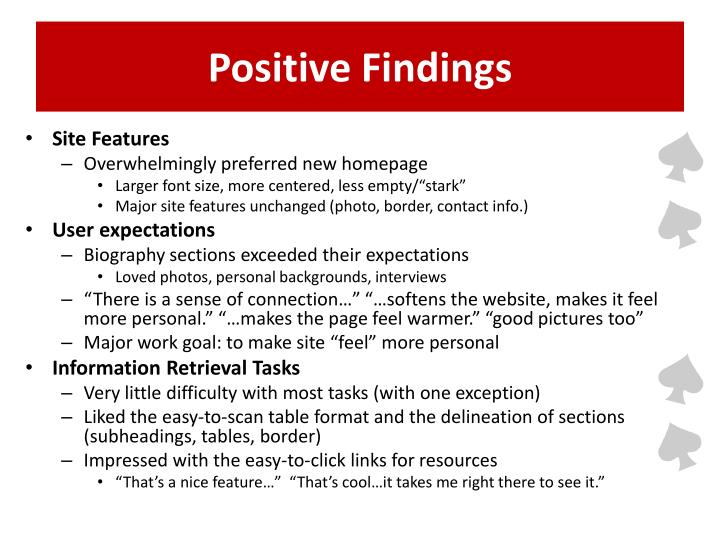 Positive Findings